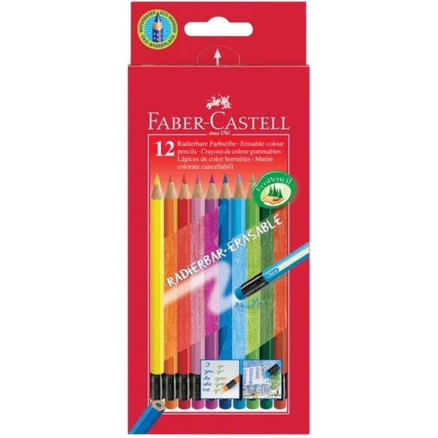 Kleurpotlood Faber-Castell uitgumbaar etui à 12 stuks