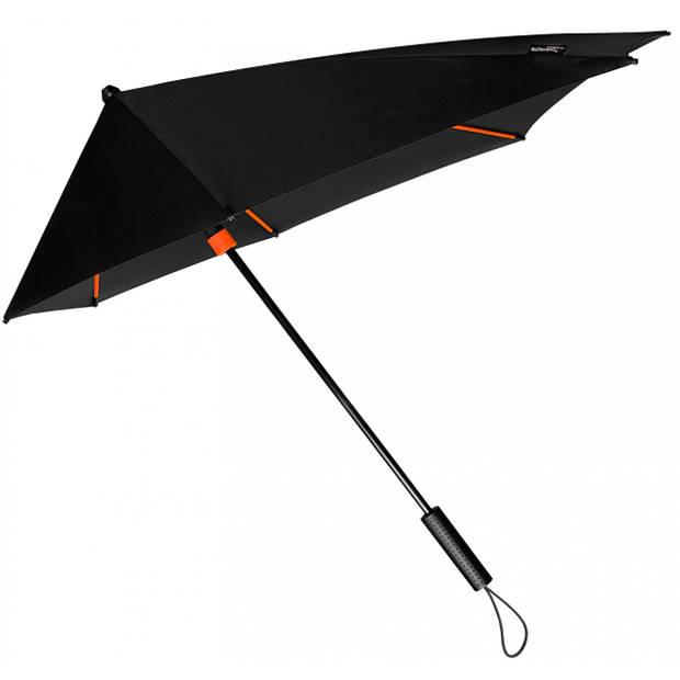 Impliva stormparaplu STORMaxi handopening 100 cm zwart/oranje