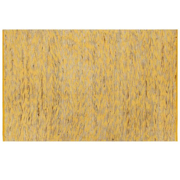 vidaXL Vloerkleed handgemaakt 80x160 cm jute geel en naturel