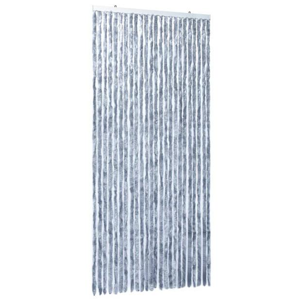 vidaXL Vliegengordijn 100x220 cm chenille zilverkleurig