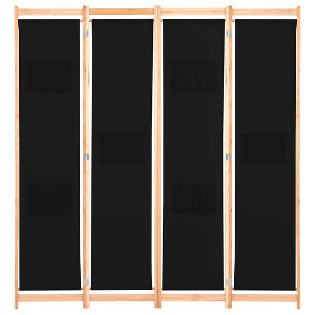 vidaXL Kamerscherm met 4 panelen 160x170x4 cm stof zwart