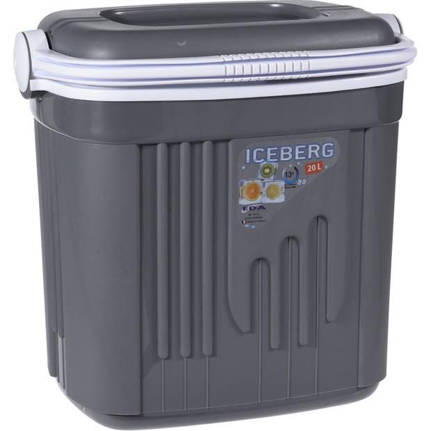 Koelbox kunststof grijs 20 liter - Koelboxen voor onderweg
