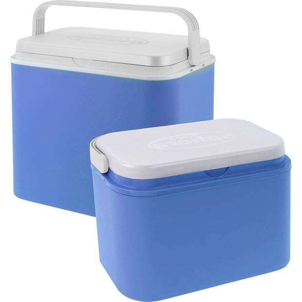 2x Koelboxen kunststof 10/24 liter - Koelboxen set 2 stuks