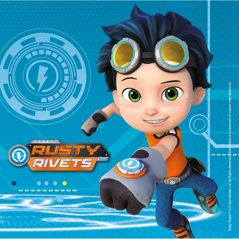 Korting Nickelodeon Servetten Rusty Rivets 33 Cm 16 Stuks Blauw