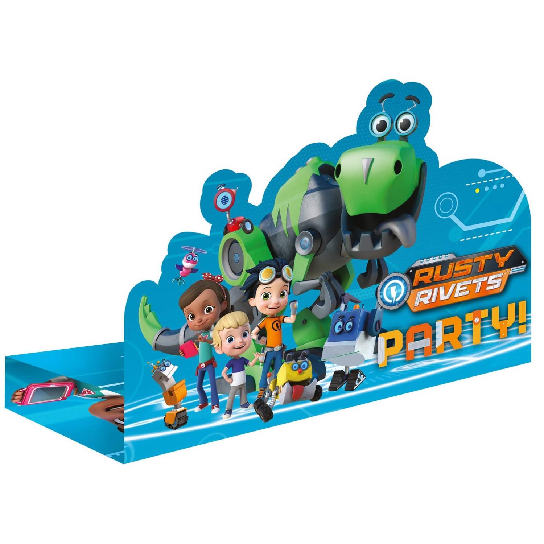 Korting Nickelodeon Uitnodigingen Rusty Rivets 16 Cm 8 Stuks Blauw