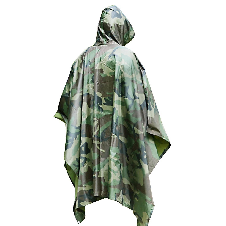 Korting Camouflage Leger Print Regenponcho's Met Capuchon Voor Volwassenen Herbruikbaar Outdoor Regenkleding