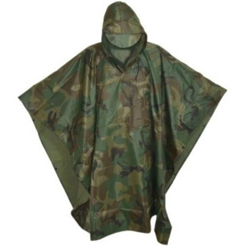 Korting Camouflage Leger Print Regenponco Met Capuchon Voor Volwassenen Herbruikbaar