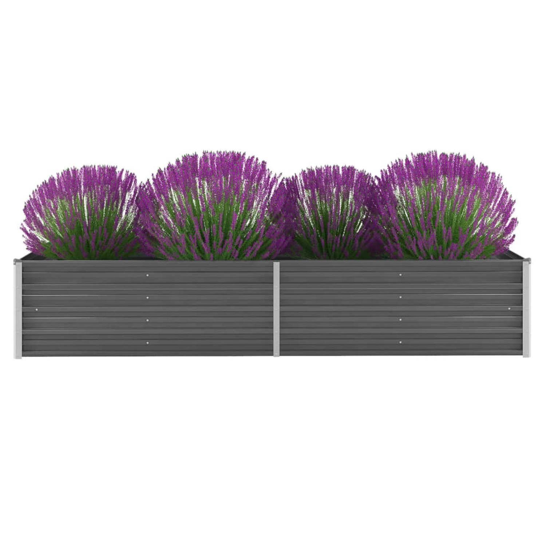 Vidaxl Plantenbak Verhoogd 240x80x45 Cm Gegalvaniseerd Staal Grijs