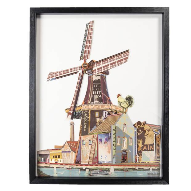 Schilderij - 64*4*82 cm - meerkleurig - kunststof / papier - rechthoek - molen - Clayre & Eef - 50316