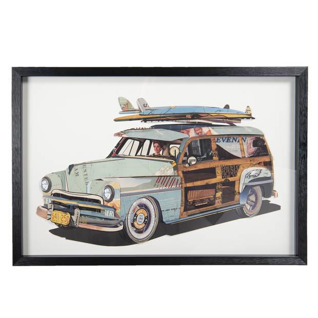 Schilderij - 90*4*60 cm - meerkleurig - kunststof / papier - rechthoek - auto - Clayre & Eef - 50319