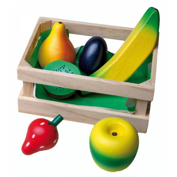 Happy People Houten krat met fruit 7-delig