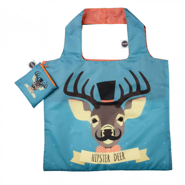 Any Bags opvouwbare shopper Hipster Deer 48 cm blauw