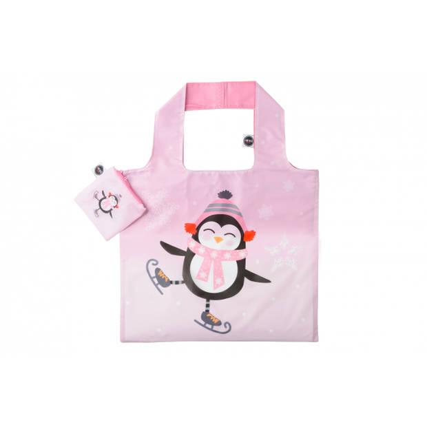 Any Bags opvouwbare shopper pinguïn 48 cm roze