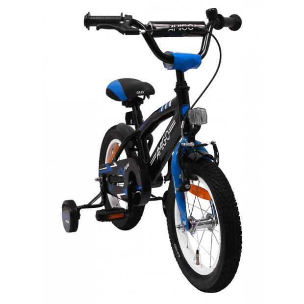 AMIGO Jongensfiets BMX Fun 14 Inch 21 cm Jongens Terugtraprem Zwart/Blauw