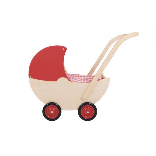 Van Dijk Toys poppenwagen met vaste kap 57 cm rood
