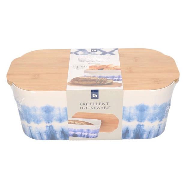 Wit/blauwe bamboe broodtrommel met snijplank bomen print - Brood bewaar box