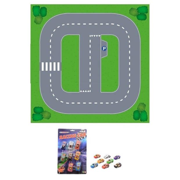 Speelgoed stratenplan wegplaten basis set karton met auto speelsetje - Kartonnen DIY wegen speelkleed