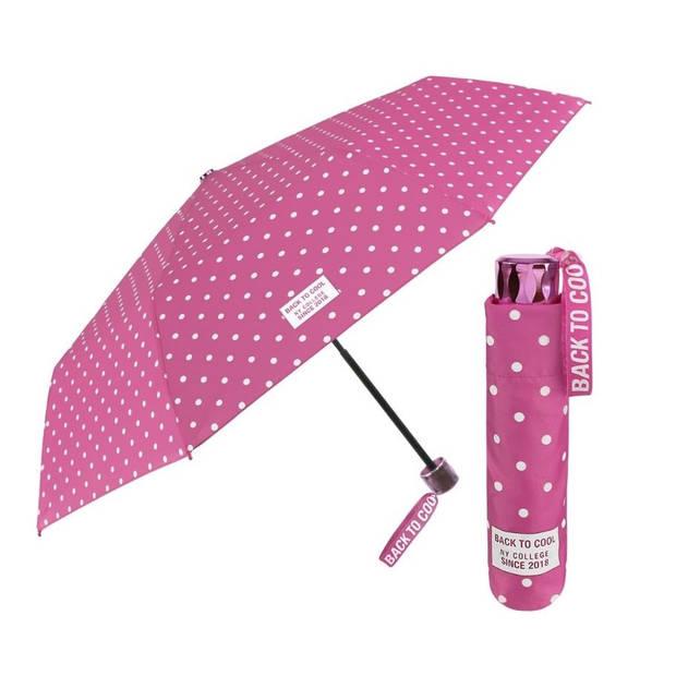 Perletti paraplu Cool Kids opvouwbaar 91/52 cm meisjes roze/wit