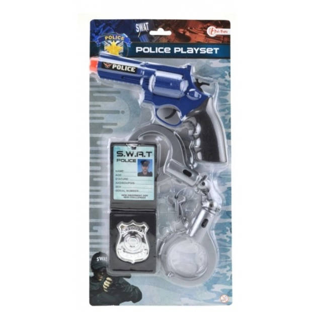 Toi-Toys Politierevolver met handboeien en ID houder 19 cm