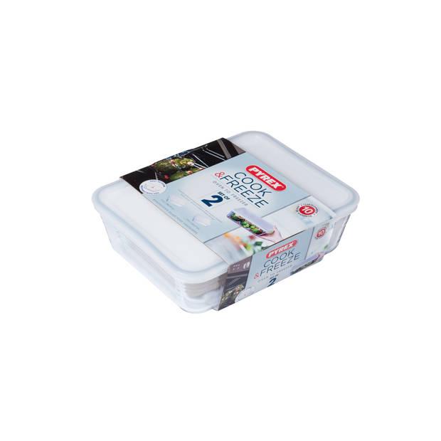 Pyrex Cook & Freeze ovenschalen - met deksel - set van 2 - 1,5 en 2,6 Liter