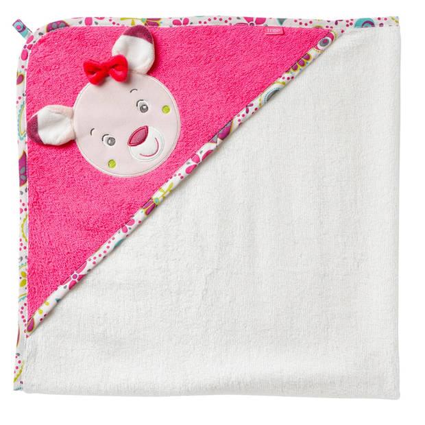 Fehn badcape hert roze/ wit 80 cm