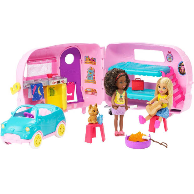 Barbie Club Chelsea cabriolet met caravan meisjes