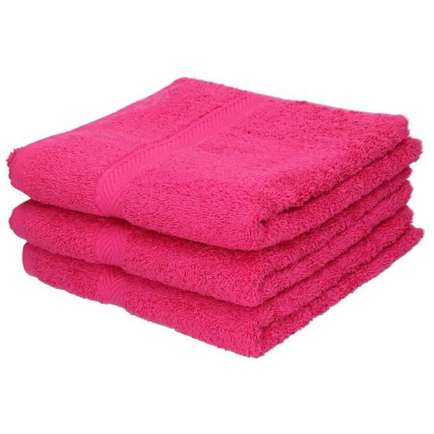 3x Luxe handdoeken fuchsia roze 50 x 90 cm 550 grams - Badkamer textiel  badhanddoeken | Blokker