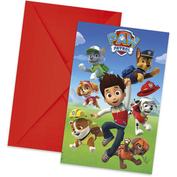 Nickelodeon uitnodigingen met envelop Paw Patrol 6 stuks 14 cm