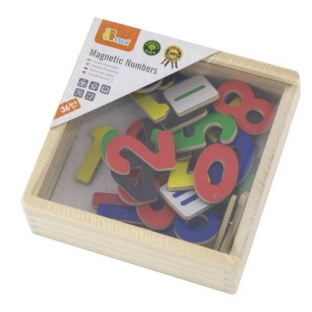 Viga Toys houten cijfers met magneet 37 stuks
