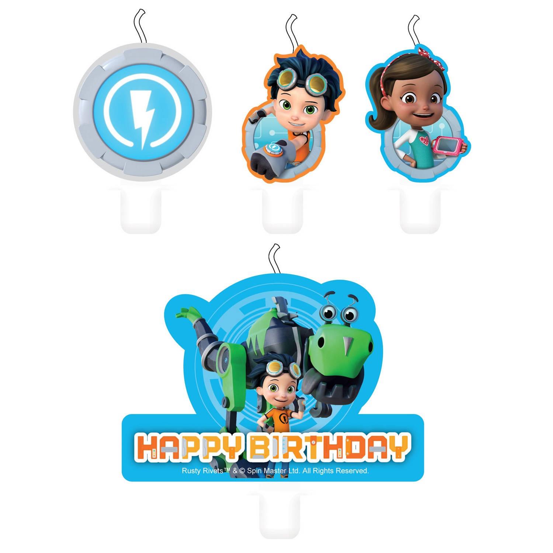 Korting Nickelodeon Verjaardagskaarsjes Rusty Rivets 6 Cm 4 Stuks