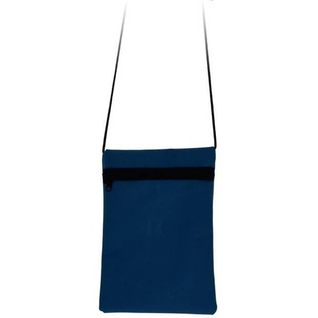 Blauwe reisbescheidentas/reisdocumententas 18 cm - Schoudertasje voor reispapieren/paspoort - Op reis - Vliegtuigtasje