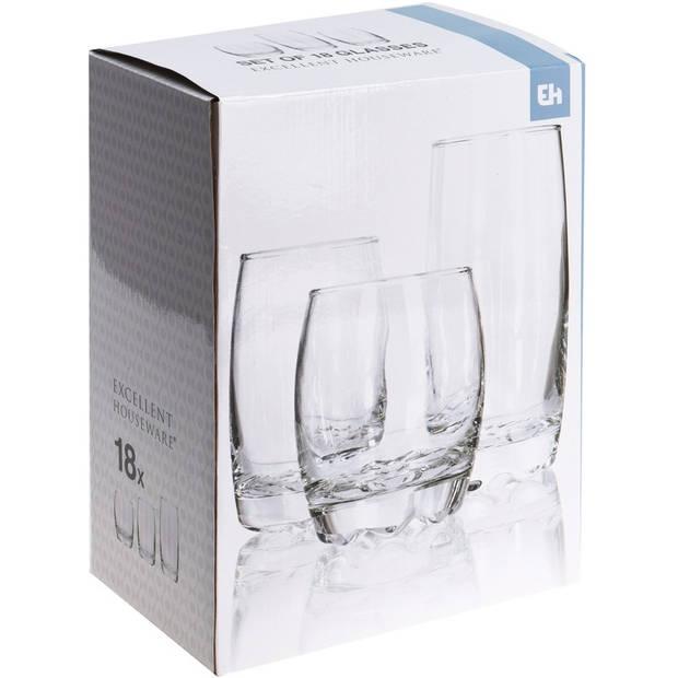 18x drink glazen set verschillende formaten 220/240/340 ml
