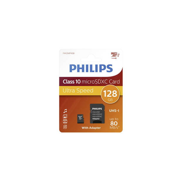 Philips Micro SDXC 128GB UHS-1 U1 met adapter