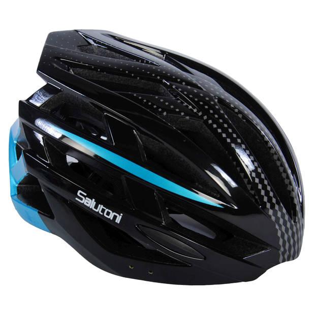 Salutoni fietshelm heren zwart/blauw 58-61 cm