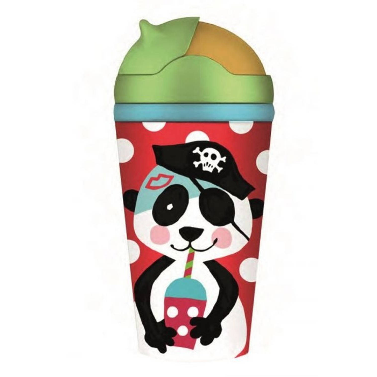 Chic.Mic drinkbeker Bamboe met rietje 300 ml piratenschat