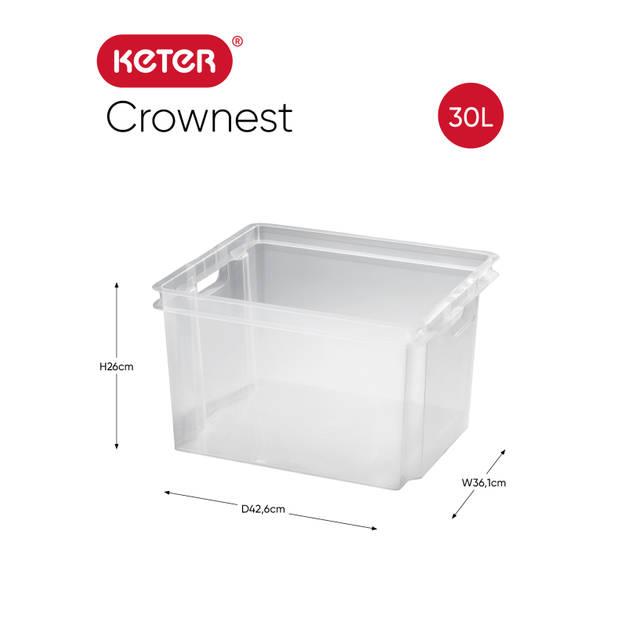 Keter Crownest Opbergbox - 30L - Transparant