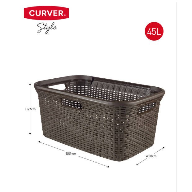 Curver - Style Wasmand 45L Natural Donker bruin