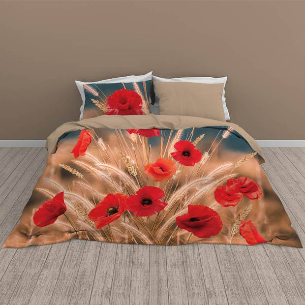 Snoozing Flower Grass dekbedovertrek - Lits-jumeaux (260x200/220 cm + 2 slopen) - Katoen - Multi