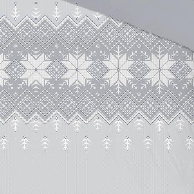 Good Morning Flake flanel dekbedovertrek - Lits-jumeaux (240x200/220 cm + 2 slopen) - Flanel - Grey