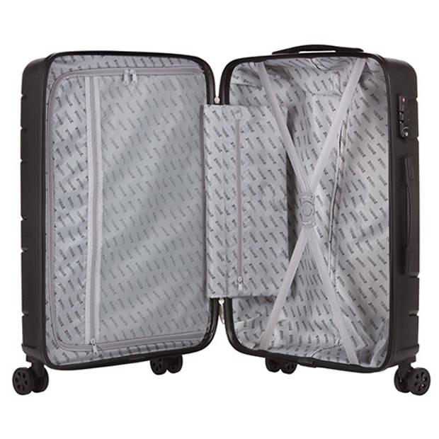 TravelZ Big Bars Reiskoffer 78 cm met dubbele wielen - Trolley koffer met TSA-slot - Zwart