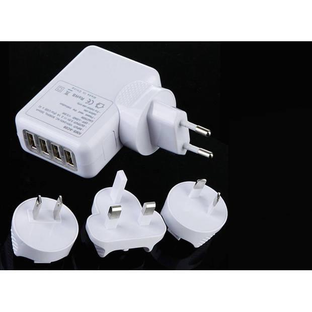 Bellson USB Wereldstekker - 4 USB Poorten - Wit