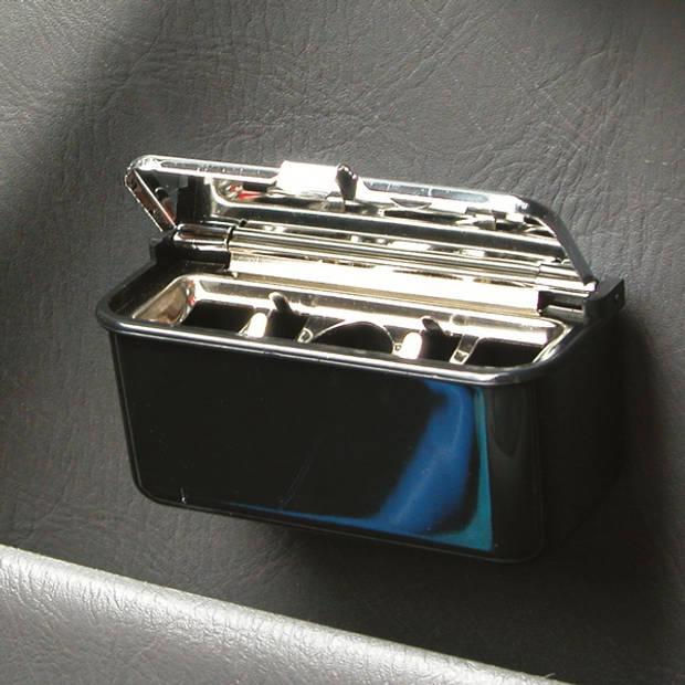 Carpoint auto-asbak met deksel 9 x 5 cm zwart/chroom