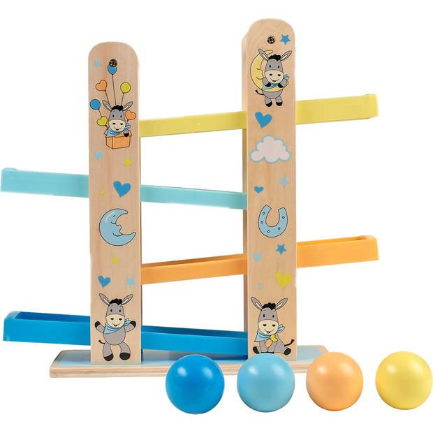 Happy People houten ballenbaan ezel 33 cm blauw