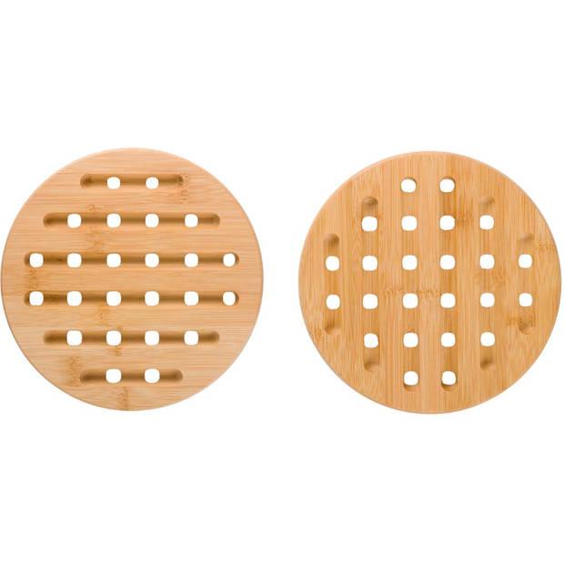Blokker panonderzetter set van 2 - bamboe