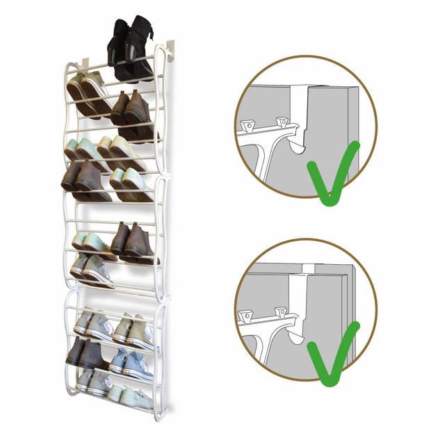 O'DADDY hangend schoenenrek deur - metaal met kunststof - wit - 20x51x182cm