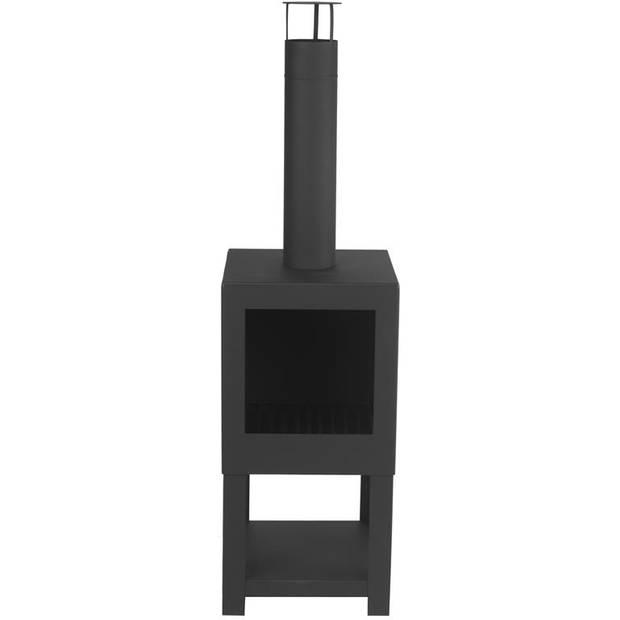 Esschert - Terraskachel met houtopslag zwart