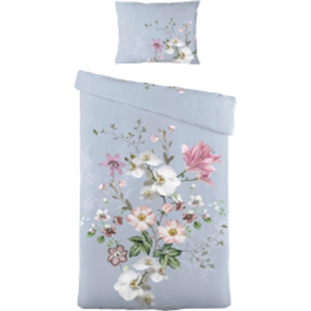 Blokker dekbedovertrek bloem 140x220 cm - blauw-roze