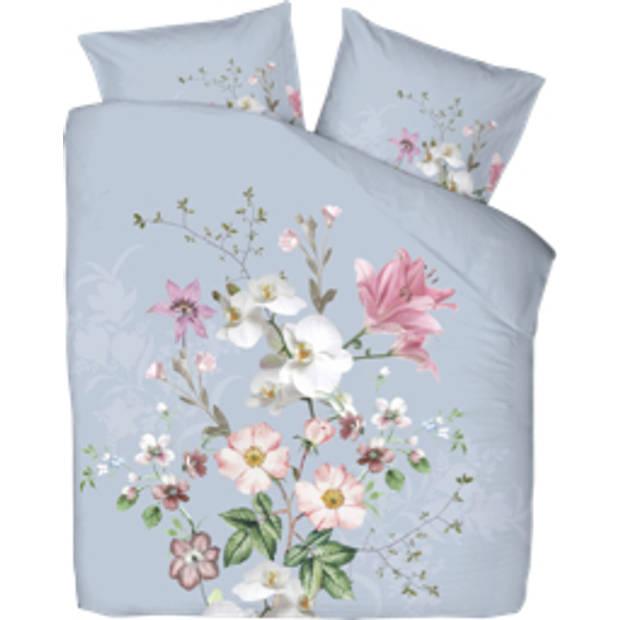 Blokker dekbedovertrek bloem 200x220 cm - blauw-roze