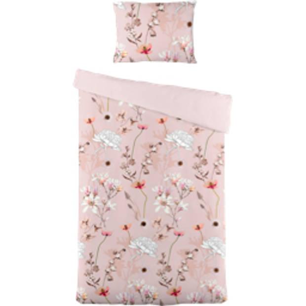 Blokker dekbedovertrek bloem 140x220 cm - roze