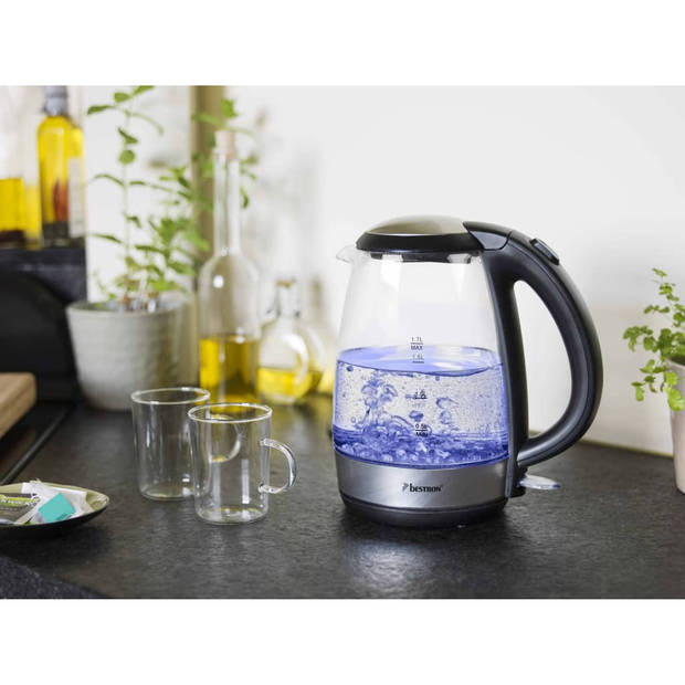 Bestron Waterkoker digitaal AWK780G 2200 W 1,7 L glas blauw